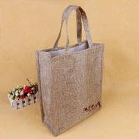 China Foldable Square Jute Tote Bags With Heat Transfer Printing Color Optional on sale
