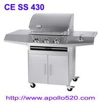 China 3 Burner BBQ on cart plus side burner on sale