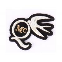 Quality Gold And Silver Embroidered Blazer Badges For Clothes , Embroidered Emblem wholesale