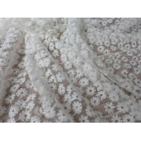 Quality Daisy Small Flower Nylon Mesh Fabric By The Yard , Off White Lace Fabric For Dresses wholesale