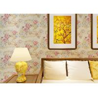 Quality 0.53*10M Contemporary Bedroom Wallpaper With Light Yellow Floral Pattern , Heat Insulation wholesale