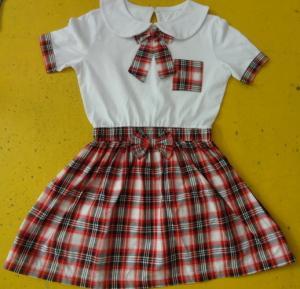 Quality 100% Cotton Checked Girls School Uniform Dresses , Summer Kids Uniform Dress wholesale