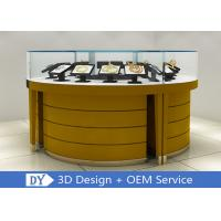 Quality Modern Wooden + Tempered Glass Jewelry Display Counter Matte Yellow wholesale
