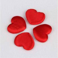 China Red Satin Padded Hearts Embellishments Applique Crafts Valentine's Day Table Decoration on sale