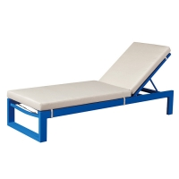 Quality Swimming Pool Blue Aluminum Beach Chair Outdoor Sunbed wholesale