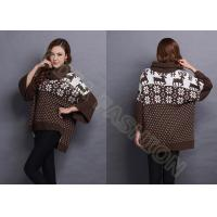 Quality Autumn Wool Women Jacquard Sweaters Turn Down Neck , Snowflake Ladies Loose Pullover wholesale