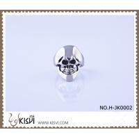 Quality Best selling 316l stainless steel skull ring with black enamel H-JK0002 wholesale