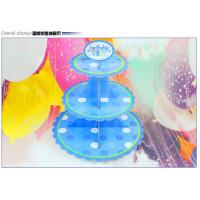 China Party Children's Birthday Decoration Paper Blue Petal Folding Cake Stand Three-layer Paper Crafts Factory Wholesale on sale