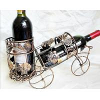 China Handmade kitchen and home decoration wrought iron wire handicrafts retro style wine racks metal wine brackets gifts on sale