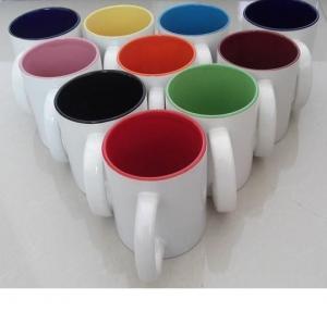 Quality 7102 white inside colors ceramic mug 11OZ sublimation mug custom your LOGO wholesale glass mug wholesale