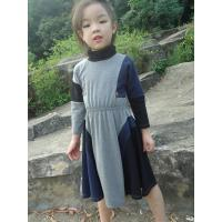 Quality Grey  Turtleneck 5 Year Baby Girl Dress , Little Girl Long Sleeve Dresses Cotton Spandex wholesale