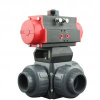 China PVC Plastic Actuator Pneumatic Ball Valve 2 Way / 3 Way With L Type T Type on sale