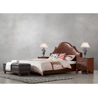 Cheap American leisure style Split Leather Upholstered Headboard Kind Bed with Wooden for sale