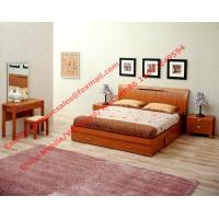 Quality Apartment Furniture suite by Lift mechanism storage bed in Cherry wooden bedroom set with Armchair and coffee table wholesale