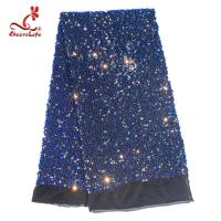 China SGS Laser Sequins Shinny Embroidered Lace Fabric With Elastic Mesh on sale
