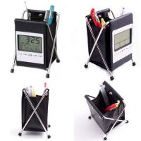 Quality Leather desk Clock with pen holder wholesale