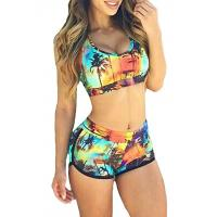 Quality High Stretched Womens Swimming Suits Two Piece Swimwear 82% Nylon 18% Spandex wholesale