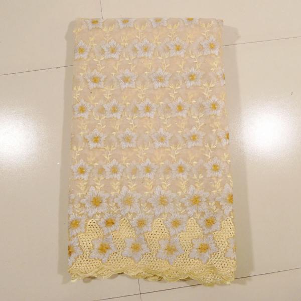 Cheap Beautiful Cream Organza Lace Fabric , Wedding Dress for sale