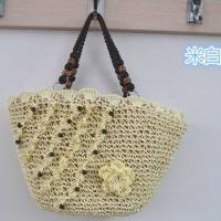 China hot sale beaded knitting straw handbag 80203 on sale