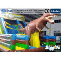 Quality Lively Dinosaur Kids Inflatable Slides , Outdoor Bouncy Slide with Animals wholesale