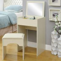 Cheap White Storage Desk Home Wood Furniture With Lifted Mirror / 6 Knock Down Shelves for sale