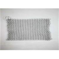 Quality 8*8inch Stainless Steel ChainmaIl Scrubber With Sqaure  Used For Pan Cleaning wholesale