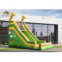 Quality Green / Yellow Giraffe PVC Inflatable Dry Slide Customize Slide For Outdoor Activities wholesale