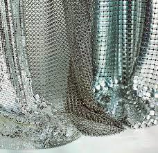 China Silver / Golden Wire Mesh Curtain Aluminum Metallic Sequined Fabrics Multi Shape on sale