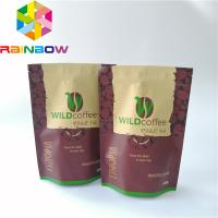 China Rainbow Custom Plastic Stand Up Pouch Resealable Coffee Bag Top Up Ziplock With Valve on sale