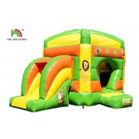 China Kids Sport Lion Combo 4.2 x 4.7m Inflatable Jumping Bouncer With Slide Logo Printed on sale