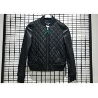 Quality Winter Pleather Black Women Pleather Coats Ribbed Collar And Hem XS - XXL Size wholesale
