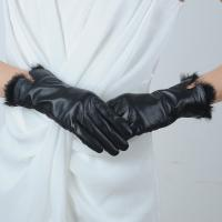 China Women sex leather gloves for women with rabbit fur on sale