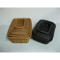 Quality Brown Square PP Rattan Bread Basket , Candy Basket wholesale