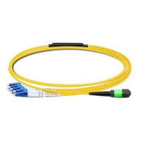 China 1m (3ft) MTP Female to 4 LC UPC Duplex OS2 9/125 Single Mode Fiber Breakout Cable, 8 Fibers, Type B, Elite, LSZH, Yellow on sale