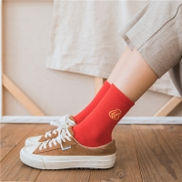 China Nice Design Red Ladies Knitted Winter Soft Home Indoor Thermal Socks on sale