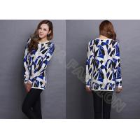 Quality Womens cowl neck Jacquard Sweaters Long Pullover in contrast color , irregular bock knit wholesale