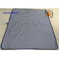 Quality Blue Stripe Print Plush Baby Blankets Cotton Rib Baby Comfort Blanket With DTM Binding wholesale