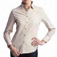 China Ladies' Dress Shirt, Fashionable Design, Made of Cotton or Polyester CVC and T/C on sale