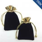 Wholesale 7x9cm Black Printed Custom Velvet Jewelry Bag,Drawstring Velvet Bag
