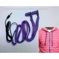 Quality Sportwear washable headphone waterproof hoodie garment drawstrings MP3 earphone wholesale