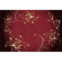 Quality Eco Friendly Bamboo Fiber Modern Decorative Wall Panels Red Flowers Pattern wholesale