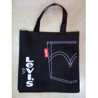 Quality Black Personalized  insulated  Custom Reusable Shopping Bag   with Double Strips   wholesale