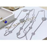 China 13 Paved Motifs 18K White Gold Diamond Necklace For Wedding Anniversary on sale
