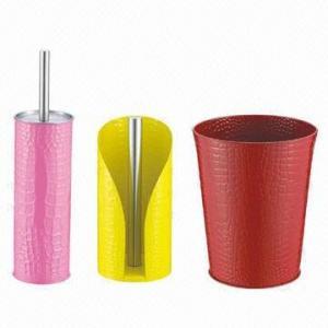 Quality 3-piece Bathroom Ware Set (Toilet Brush + Paper Towel Holder + Trash Bin), Powder Coating Color wholesale