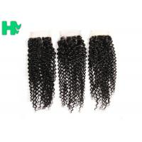 China 8'' - 20''Unprocessed Human Hair Closure Kinky Curly Bleached Knots on sale