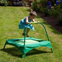 Quality Safe small green trampoline for kids Garden outdoor playing , 89x89 cms Base area for sale