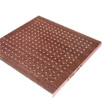 China MDF Material Polyester Fiber Board Hotel Wooden Perforated Acoustic Ceiling Panel on sale