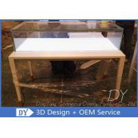 Quality Simple Usefull Modern White Wood Glass Counter Display For Jewelry wholesale