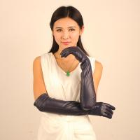 Quality women sheepskin black long leather gloves wholesale