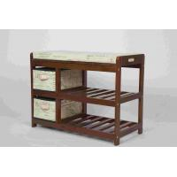 Quality Walnut Classical Modern Wood Furniture Shoe Storage Bench Seat With 2 Fabric Drawers wholesale